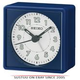 Seiko QHE083L Analogue Bedside Beep Alarm Clock With Snooze Function - Navy Blue