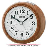 Seiko QHE157B Beep Alarm Bedside Round Shape Clock/Snooze & Light-Wood Finish
