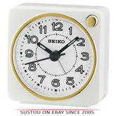 Seiko QHE144W Analogue Bedside Beep Alarm Clock - Snooze,Light Function - White