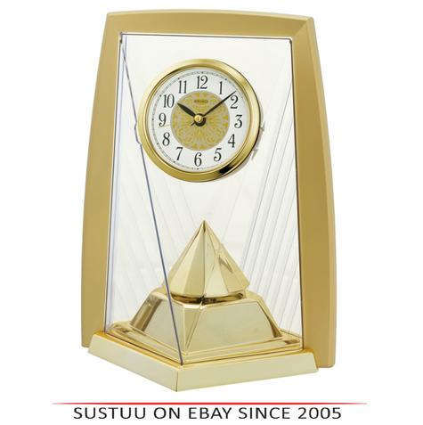 Seiko QXN231G One Way Rotating Pendulam Analogue Clock-Battery Operated- Gold Thumbnail 1