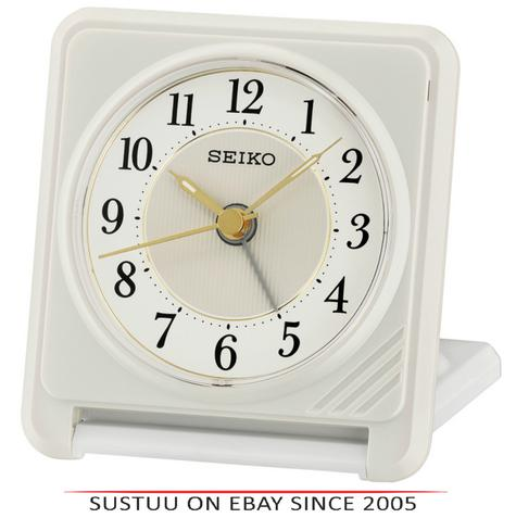 Seiko QHT016W Ascending Beep Alarm Clock With Light & Snooze Function - White Thumbnail 1