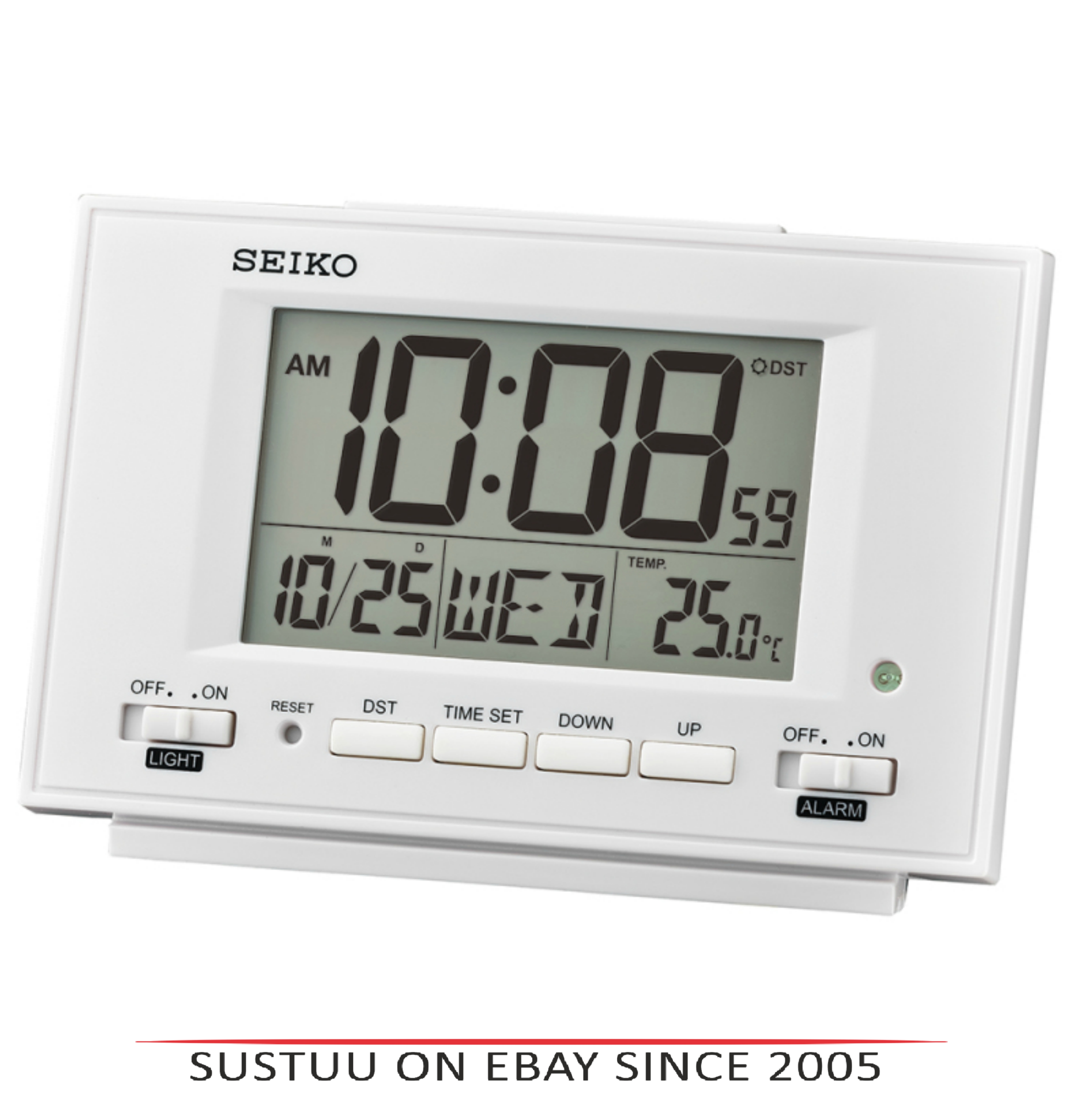 Seiko QHL075W LCD Dual Alarm Clock With Calendar-Thermometer-Snooze-Light-White