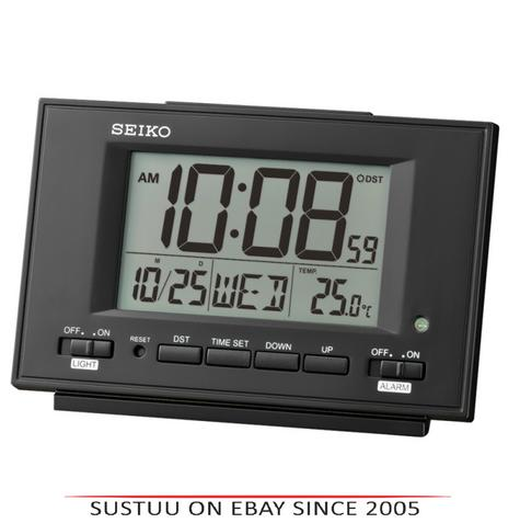 Seiko QHL075W LCD Dual Alarm Clock With Calendar-Thermometer-Snooze-Light-White Thumbnail 1
