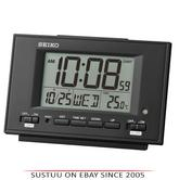 Seiko QHL075K LCD Dual Alarm Clock With Calendar-Thermometer-Snooze-Light-Black