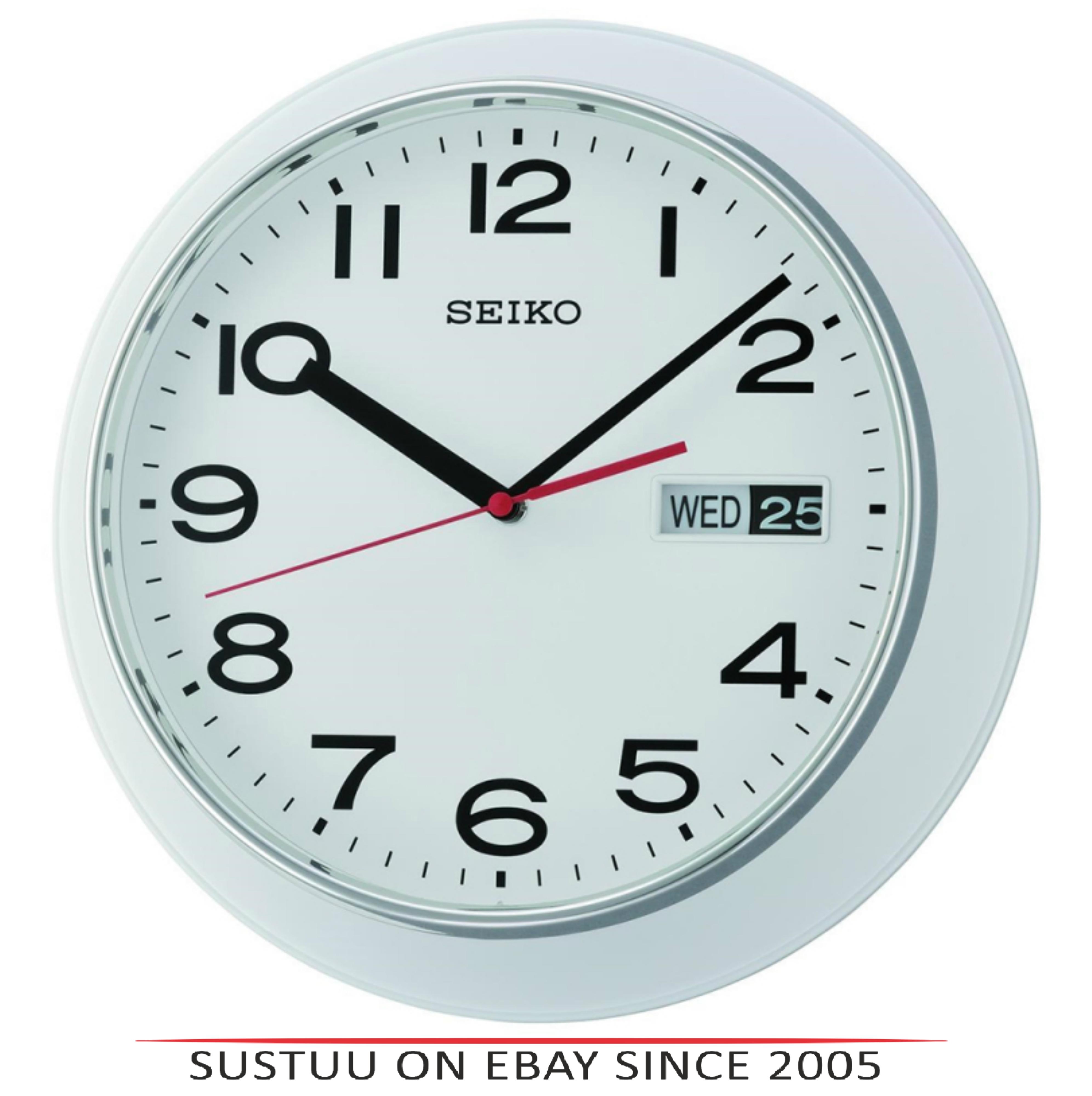 Seiko QXF102H Day & Date Calendar Display With Arabic Numerals Wall Clock-White