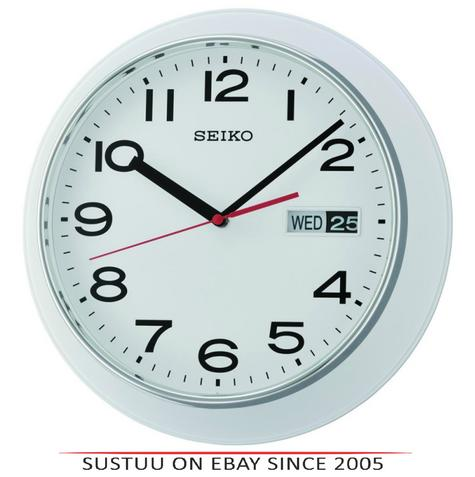 Seiko QXF102H Day & Date Calendar Display With Arabic Numerals Wall Clock-White Thumbnail 1