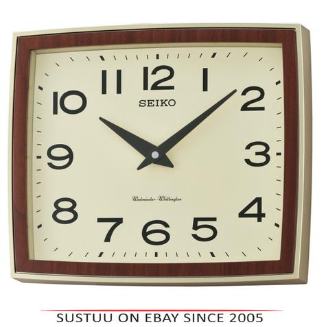 Seiko QXD211S Westminster/Whittington Dual Chime Arabic Wall Clock - Brown Case Thumbnail 1