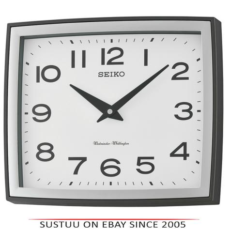 Seiko QXD211K Westminster/Whittington Dual Chime Arabic Wall Clock - Silver Case Thumbnail 1