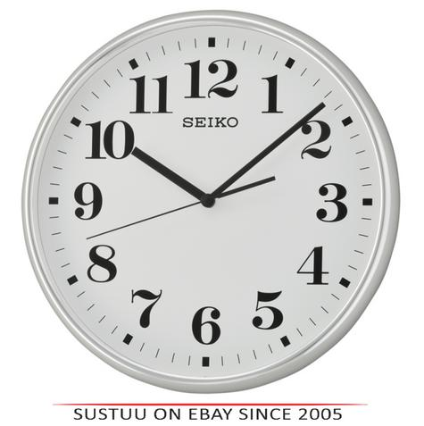 Seiko QXA697S Quiet Sweep Second Hand Wall Clock-Light SilverCase With WhiteFace Thumbnail 1