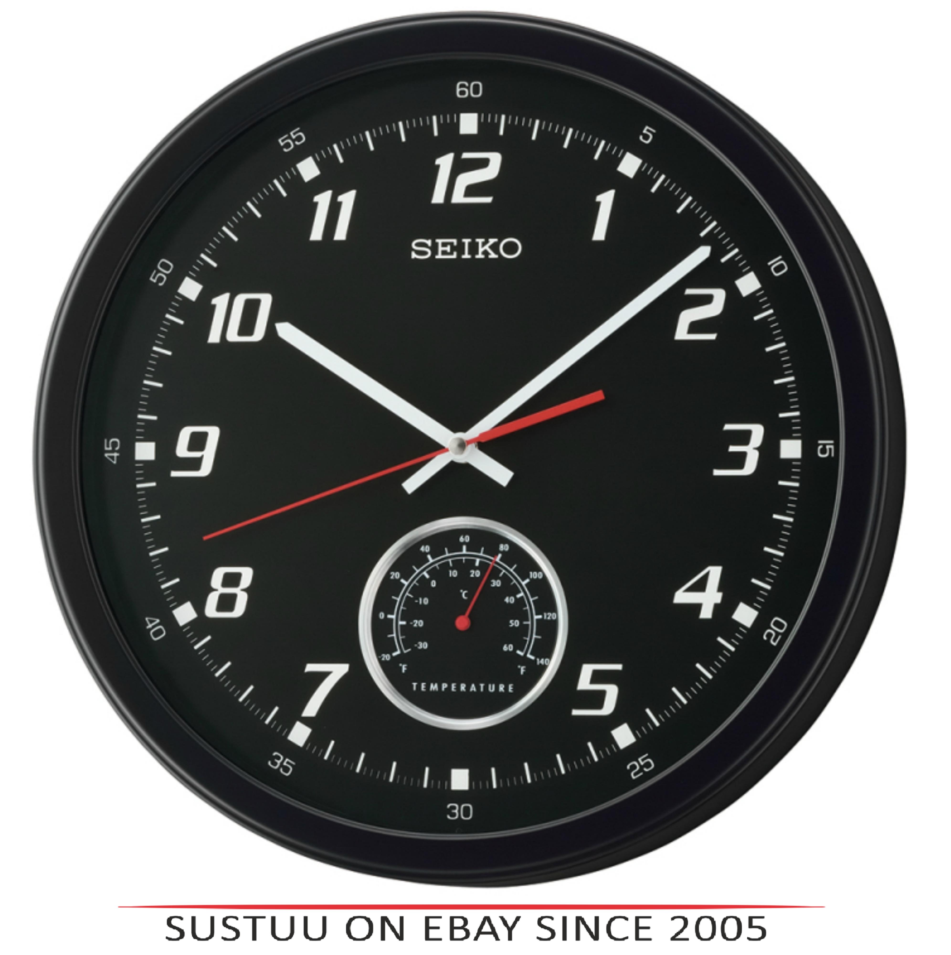 Seiko QXA696K Arabic Numerals Wall Clock with Thermometer - Matt Black Plastic