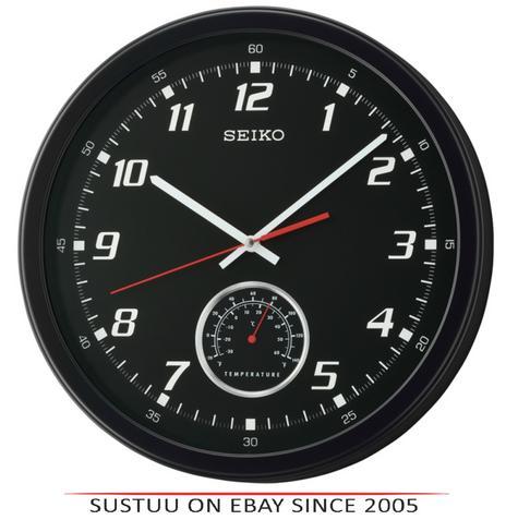 Seiko QXA696K Arabic Numerals Wall Clock with Thermometer - Matt Black Plastic Thumbnail 1