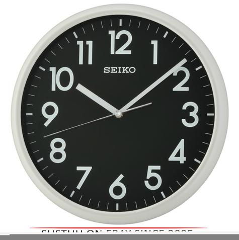 Seiko QXA694N LumiBrite Analogue Round Wall Clock?Light Grey with Black Face?NEW Thumbnail 1