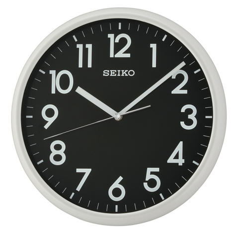 Seiko QXA694N LumiBrite Analogue Round Wall Clock?Light Grey with Black Face?NEW Thumbnail 2