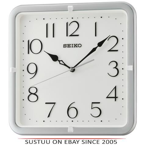 Seiko QXA685S Analogue Wall Clock|12 Hour Display|Square Shape|Silver Case Thumbnail 1