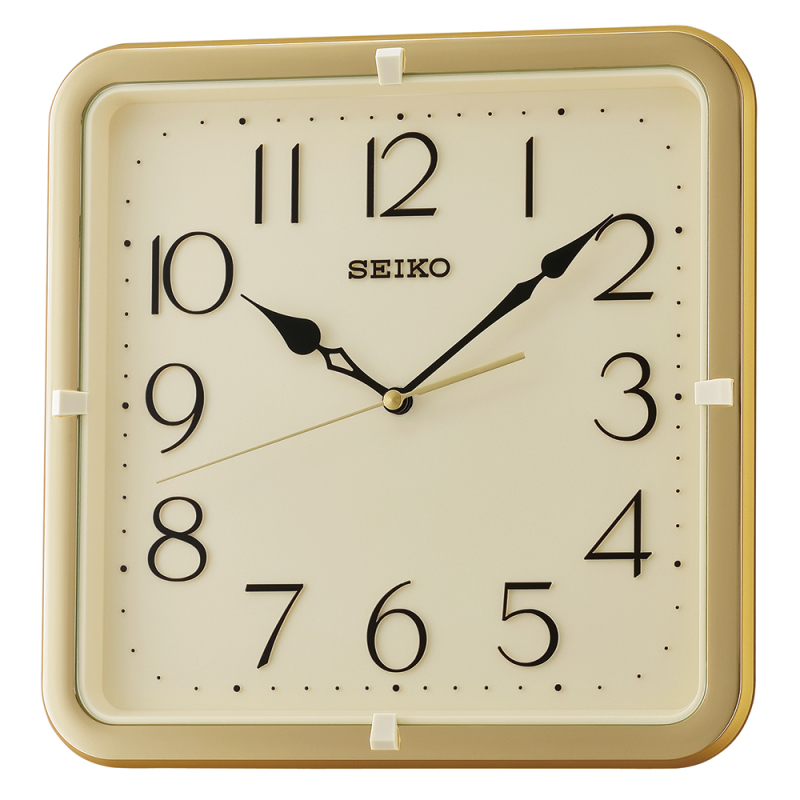Seiko Qxa685g Square Wall Clock Gold Case 12 Hour Display