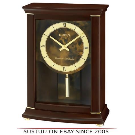 Seiko QXQ033B Westminster/Whittington Dual Chime Mantel Alarm Clock-Pendulam Thumbnail 1