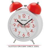Seiko QHK905W Coca-Cola Arabic Numerals Bell Alarm Clock With White Plastic Case