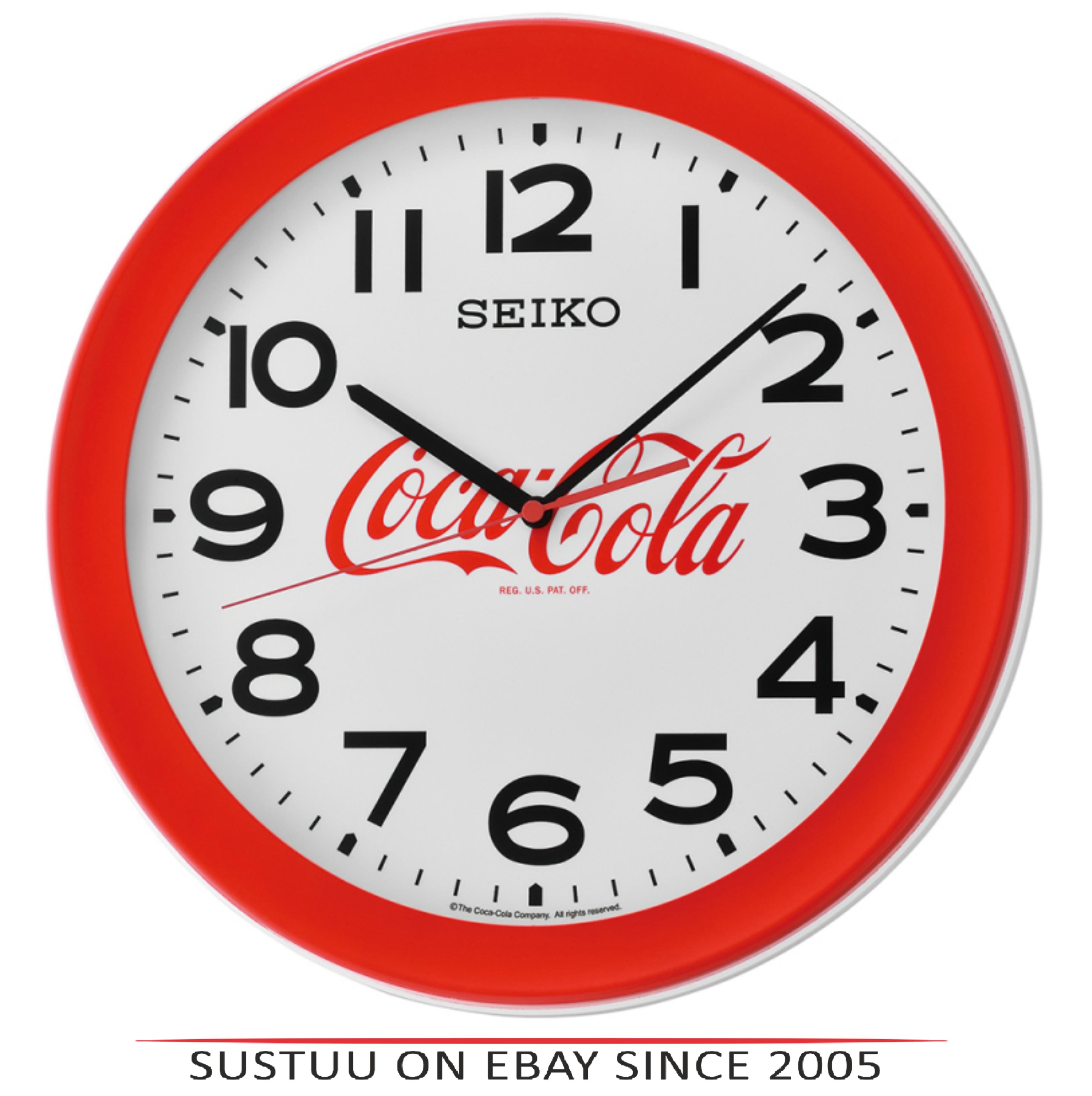 Seiko QXA922R Coca-Cola Wall Clock?Large Arabic Numerals?Round Shape?Plastic?Red
