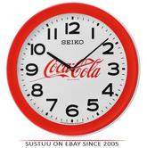 Seiko QXA922R Coca-Cola Wall Clock?Large Arabic Numerals?Round Shape?Plastic?Red