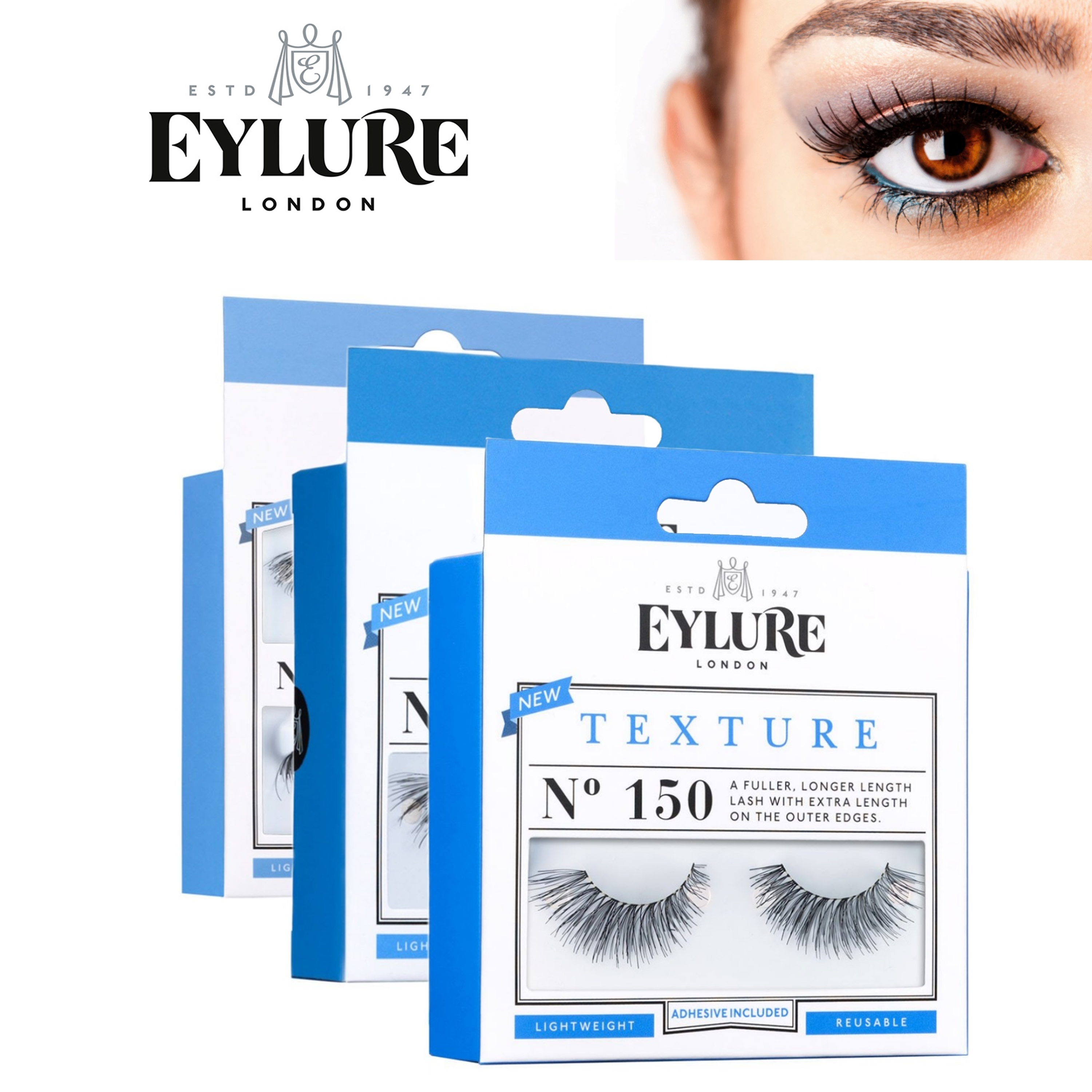 Eylure Texture Lashes Ladies Reusable Adhesive Strip Volume False Eyelashers