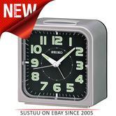 Seiko QHK025S Wecker Bedside Alarm Clock Snooze Lumibrite Dial Silver Black Face