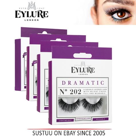 Eylure Dramatic Lash Ladies Reusable Adhesive Handmade Volume False Eyelashers   Thumbnail 1
