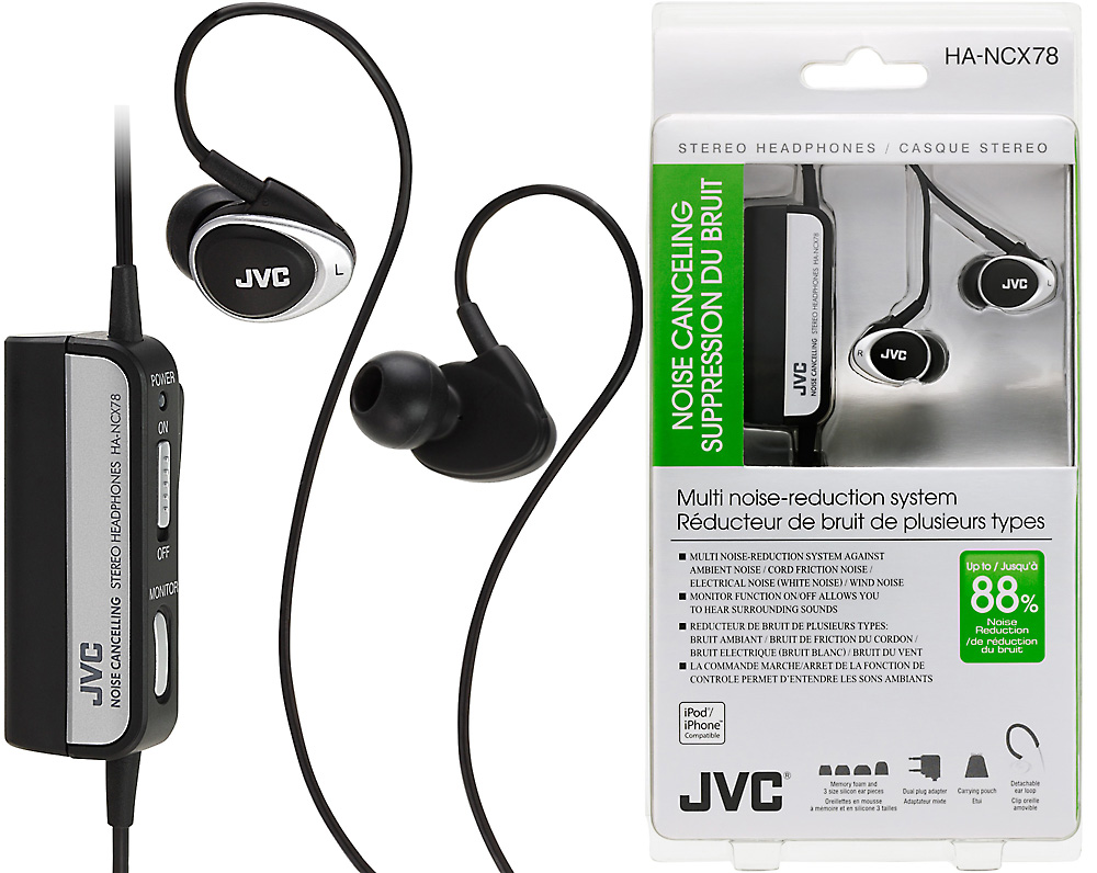 Jvc Noise Cancelling In Ear Travel Earphones For Iphones Mp3 Player