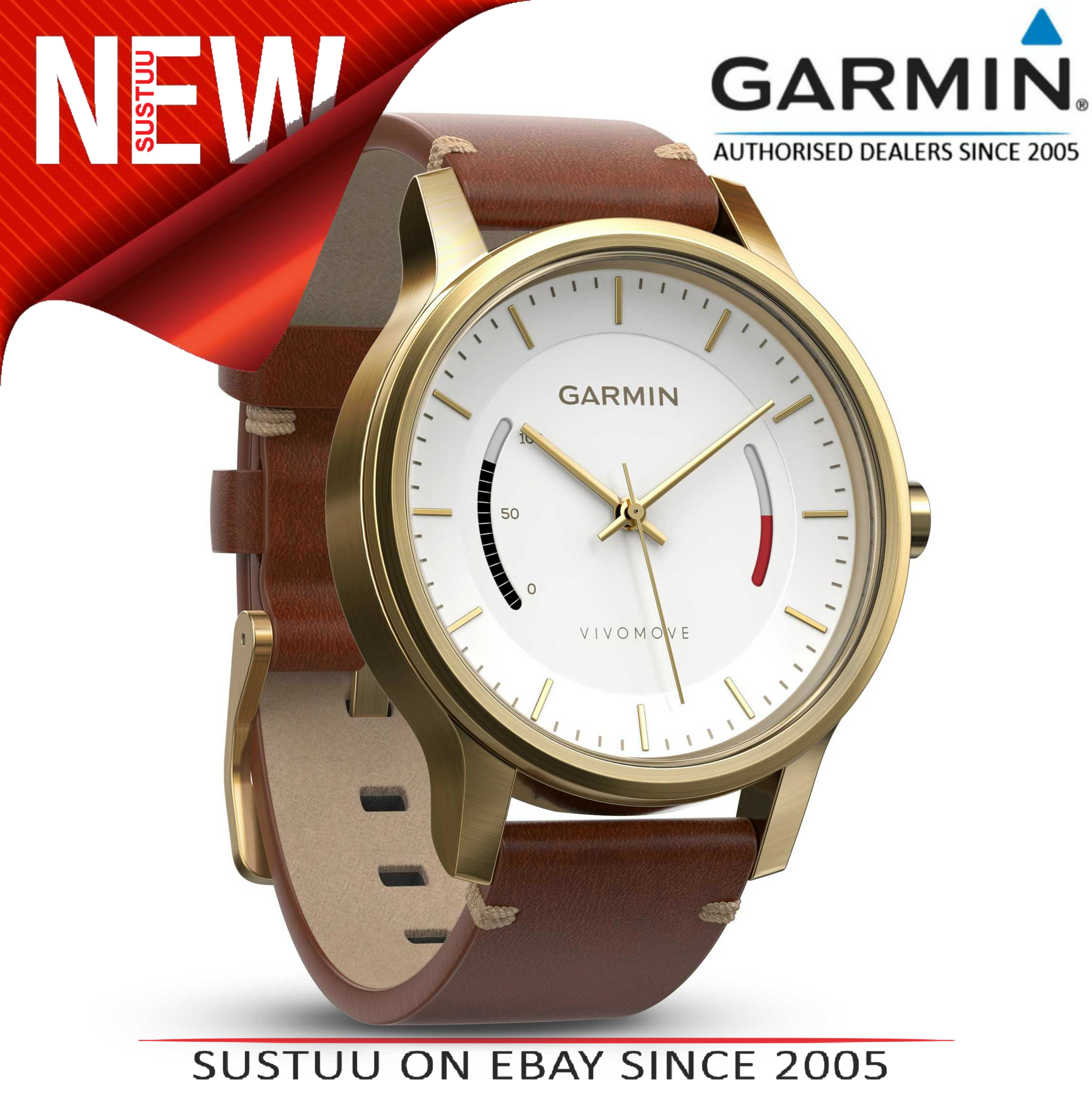 Garmin Vivomove|Analog Smart Watch|Activity Tracker|Sleep Monitor|Brown Leather+ Gold