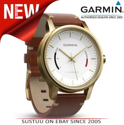 Garmin Vivomove|Analog Smart Watch|Activity Tracker|Sleep Monitor|Brown Leather+ Gold Thumbnail 1