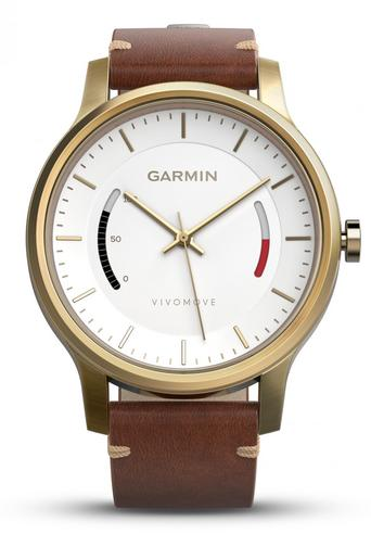 Garmin Vivomove|Analog Smart Watch|Activity Tracker|Sleep Monitor|Brown Leather+ Gold Thumbnail 2