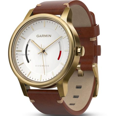 Garmin Vivomove|Analog Smart Watch|Activity Tracker|Sleep Monitor|Brown Leather+ Gold Thumbnail 3