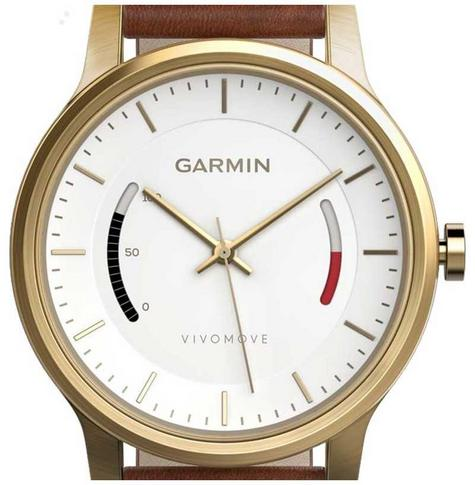 Garmin Vivomove|Analog Smart Watch|Activity Tracker|Sleep Monitor|Brown Leather+ Gold Thumbnail 7