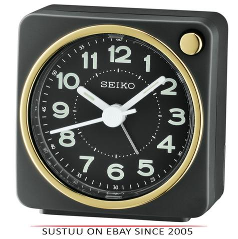 Seiko QHE144J Analogue Bedside Beep Alarm Clock - Snooze,Light Function - Black Thumbnail 1