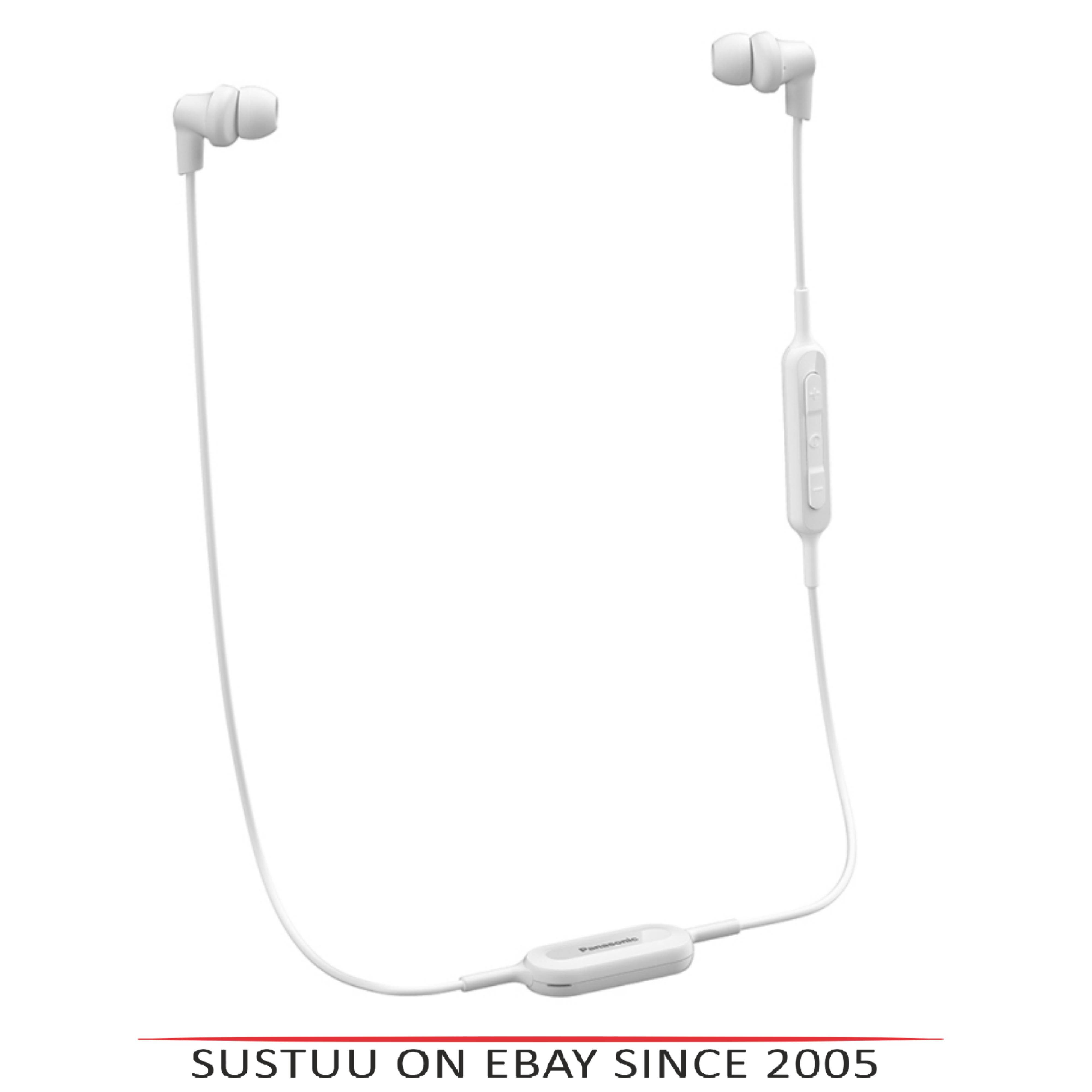 Panasonic RPNJ300BEW Wireless Ergo-Fit Bluetooth In Ear Buds Earphones-White-New
