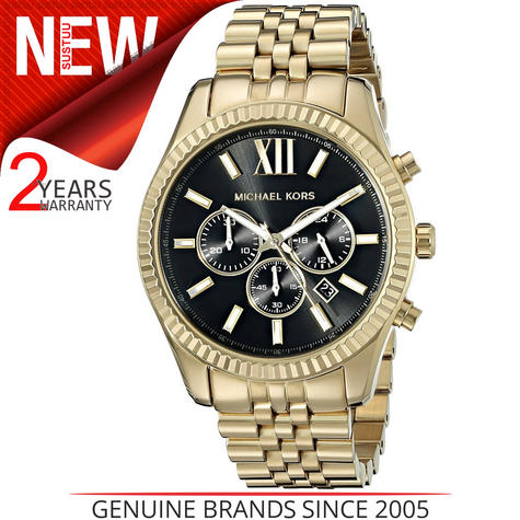 Michael Kors Gent's Lexington Chronograph Gold Tone Designer Round Watch-MK8286 Thumbnail 1