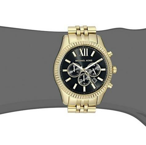 Michael Kors Gent's Lexington Chronograph Gold Tone Designer Round Watch-MK8286 Thumbnail 6
