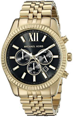 Michael Kors Gent's Lexington Chronograph Gold Tone Designer Watch MK8281 Thumbnail 1
