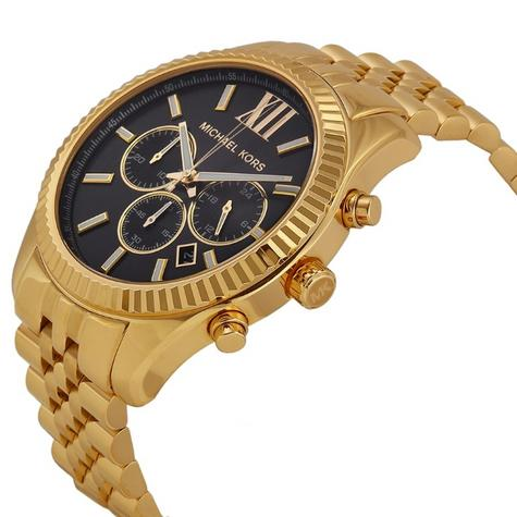 Michael Kors Gent's Lexington Chronograph Gold Tone Designer Watch MK8281 Thumbnail 2