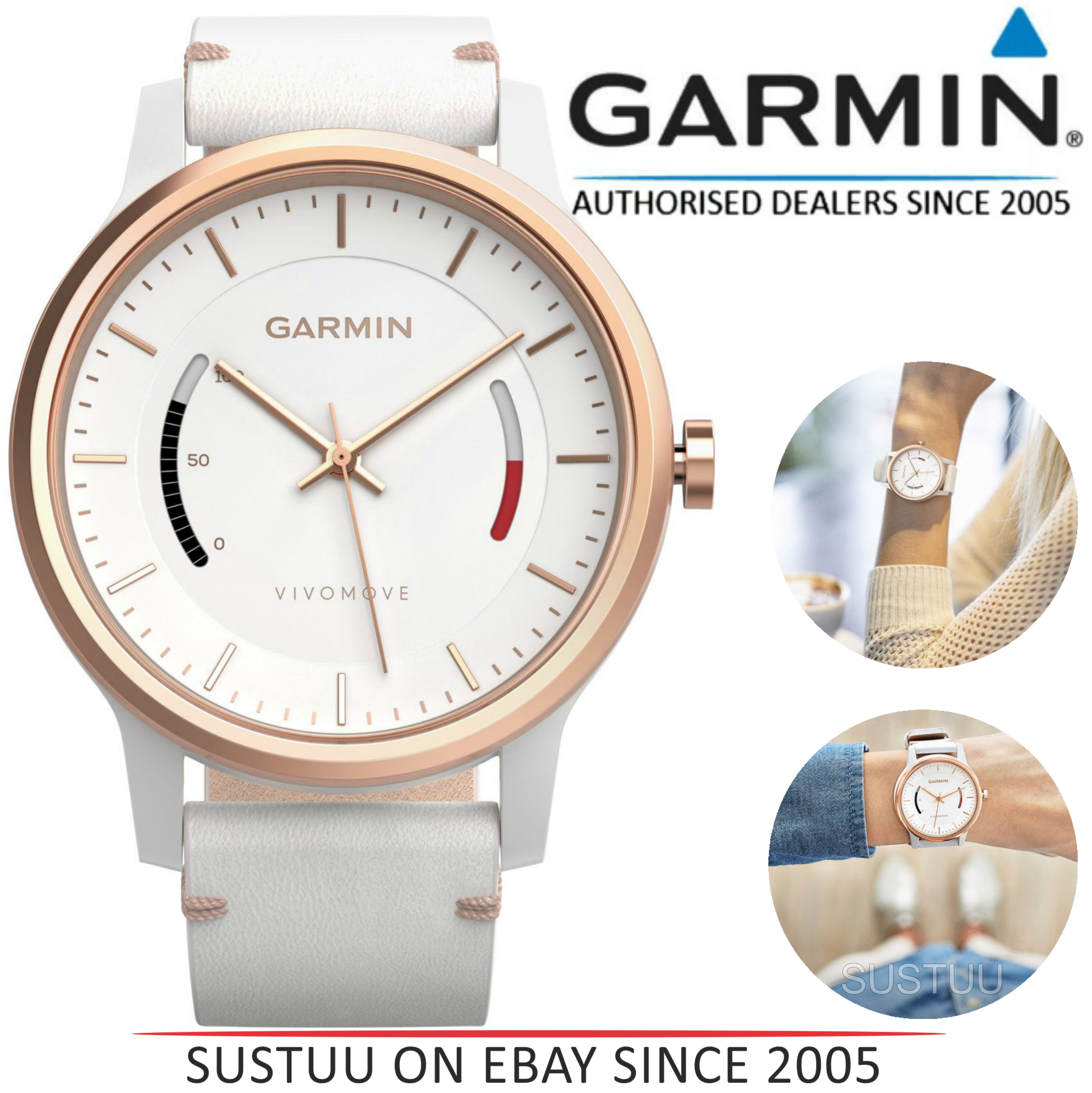 4b65758111f Details about Garmin Vivomove Classic Smart Watch│Activity Fitness  Tracker+White Leather Band