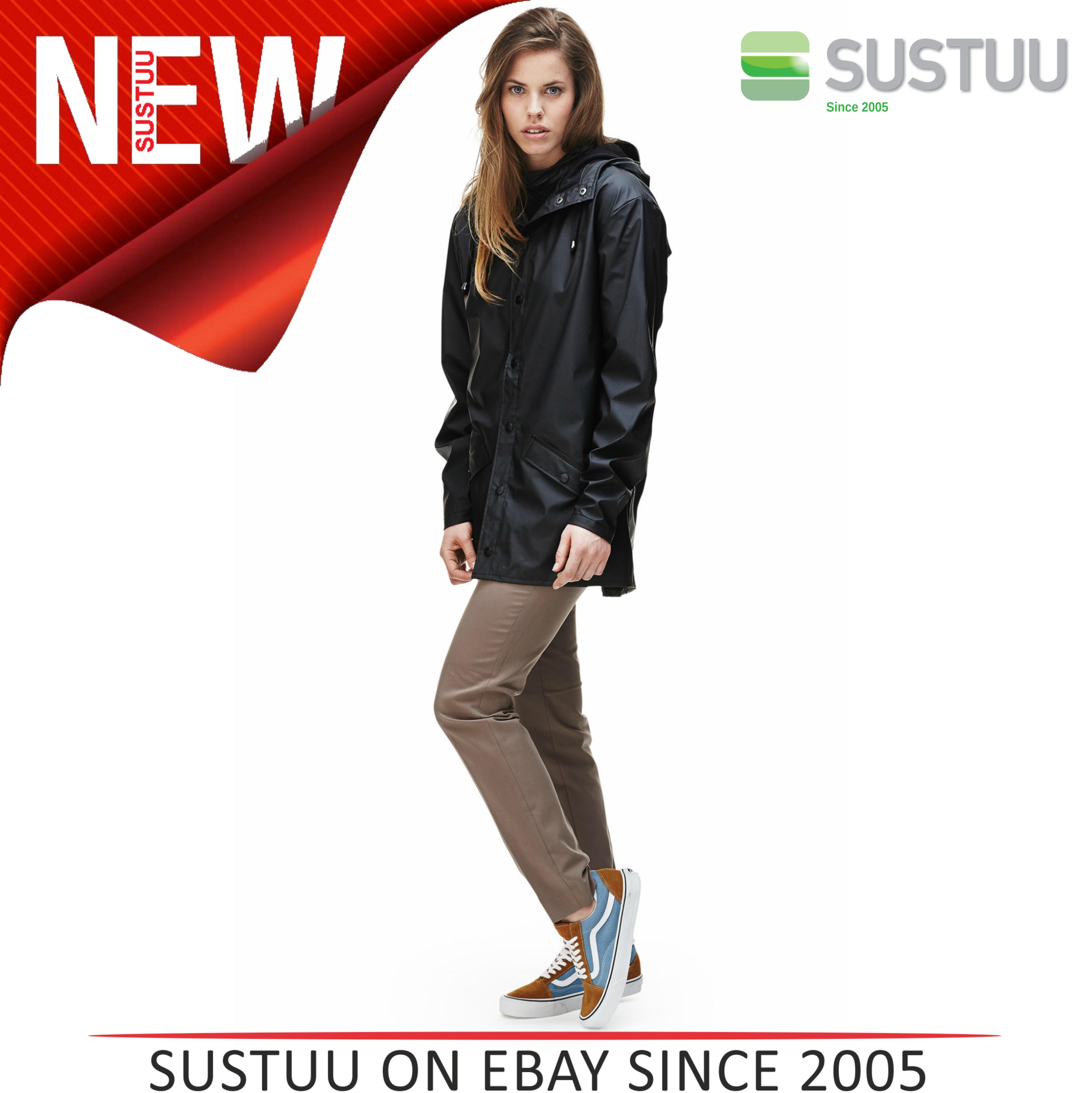 Rains Womens Premium Black Waterproof Anorak Jacket xs/s NEW