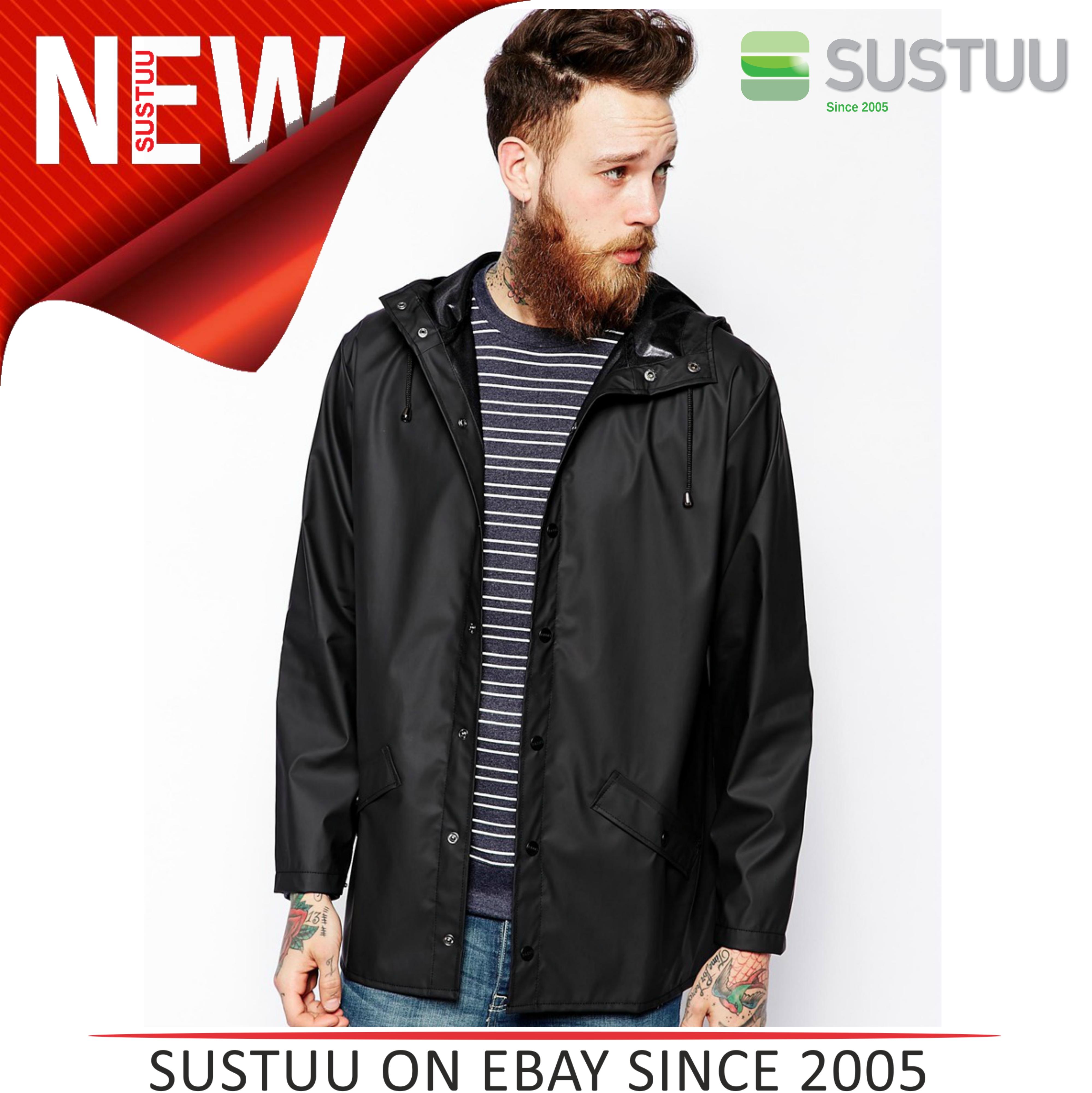 Rains Mens Premium Black Waterproof Anorak Jacket xs/s NEW
