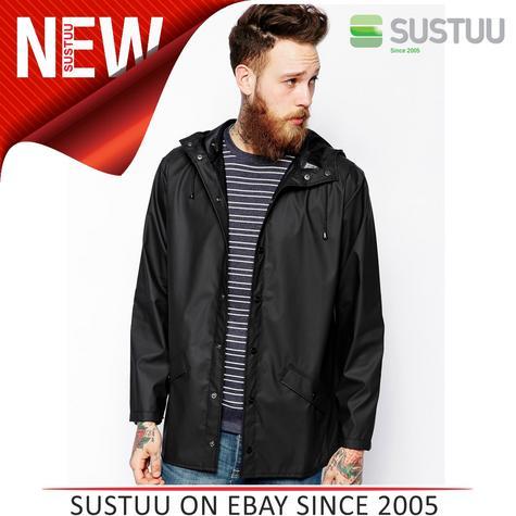 Rains Mens Premium Black Waterproof Anorak Jacket xs/s NEW Thumbnail 1