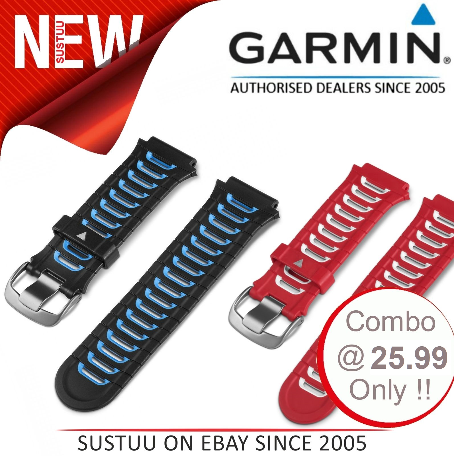 Garmin 010-11251-42|Replacement GPS Watch Band Strap|Forerunner 920XT x 2Color