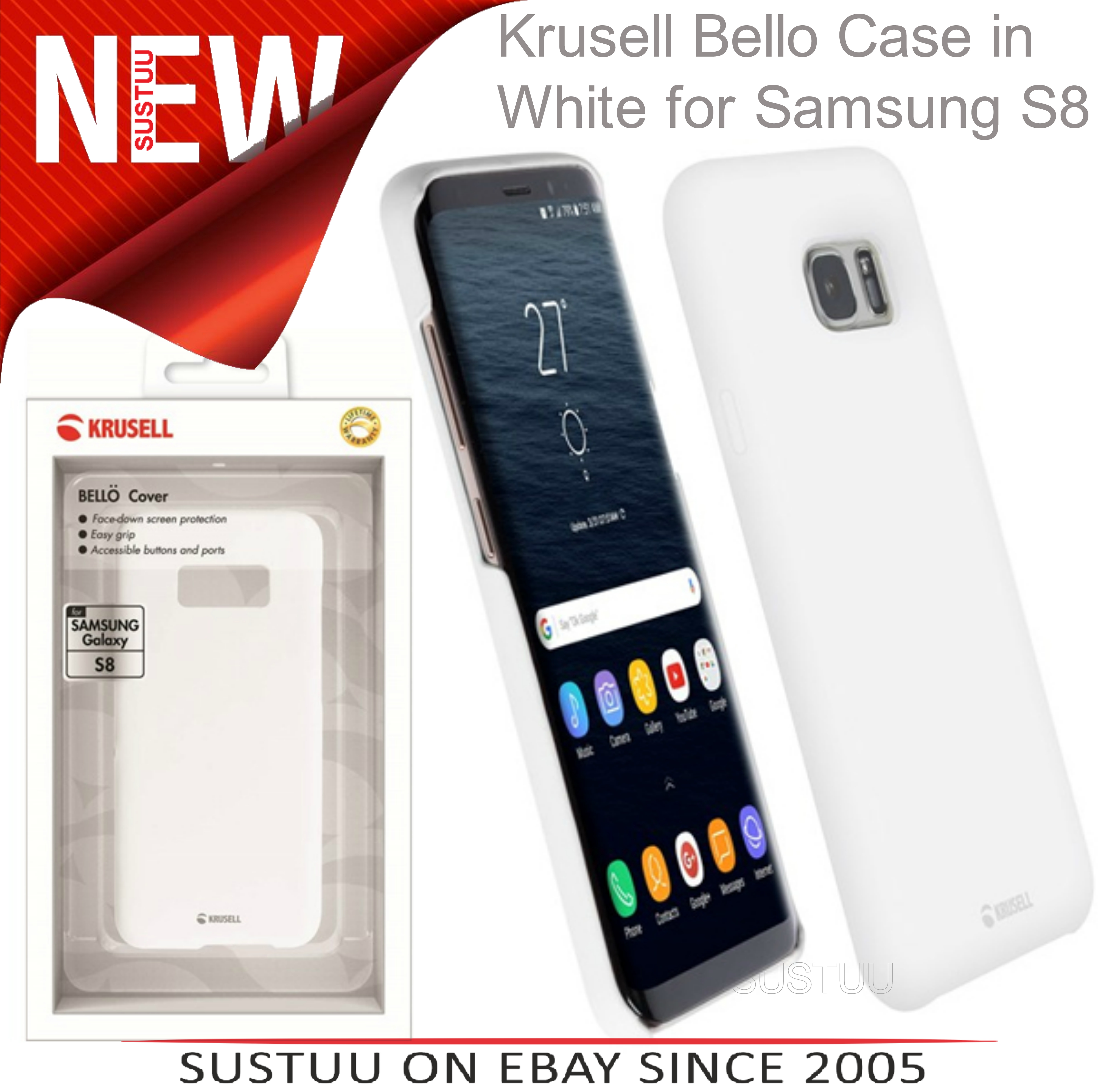 NEW Krusell Bellö Slim Soft Cover Case for Samsung S8 - White 1YEAR WARRANTY