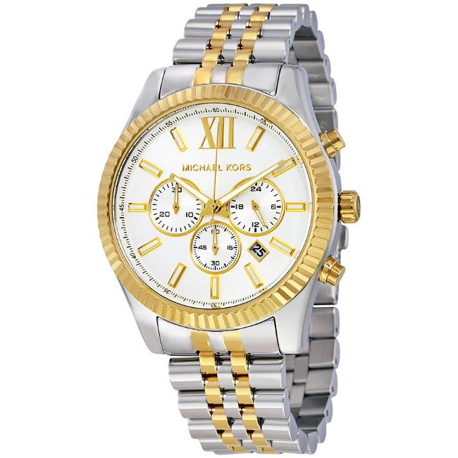 Michael Kors Lexington Gent's Two-Tone Gold & Silver Chronograph Watch MK8344