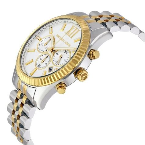 Michael Kors Lexington Gent's Two-Tone Gold & Silver Chronograph Watch MK8344 Thumbnail 2