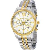 Michael Kors Lexington Men's Two Tone Gold & Silver Chrono Round Watch MK8344