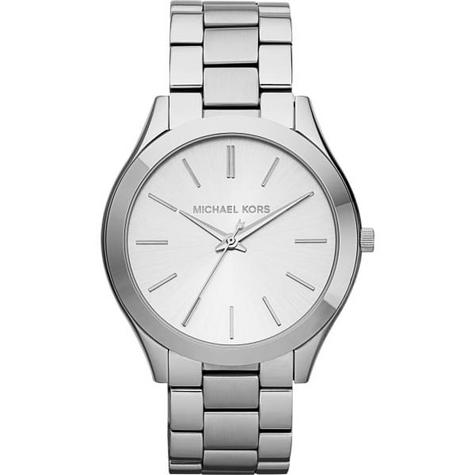 Michael Kors Ladies Ultra Slim Runway Silver-Tone Bracelet Designer Watch MK3178 Thumbnail 1