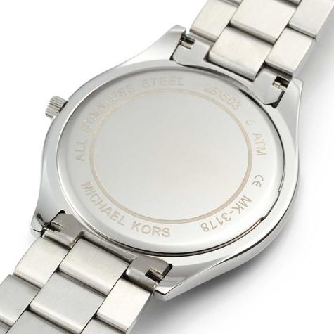Michael Kors Ladies Ultra Slim Runway Silver-Tone Bracelet Designer Watch MK3178 Thumbnail 3