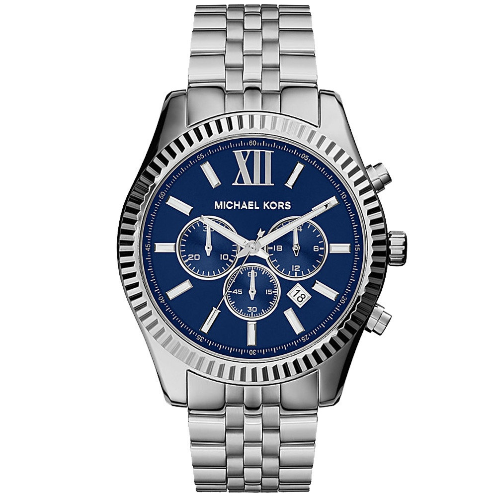 Michael Kors Gent's Lexington Blue Dial Chronograph Stainless Steel Watch MK8280